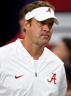 Alabama Crimson Tide offensive coordinator Lane Kiffin before the game against the USC Trojans at AT&T Stadium.