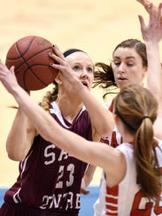 Maesyn Thiesen takes a shot for Sauk Centre during