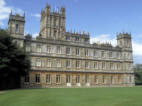 Highclere Castle, Hampshire, England, is the real-life castle used for the fictional Downton Abbey in the popular PBS series, Downton Abbey.