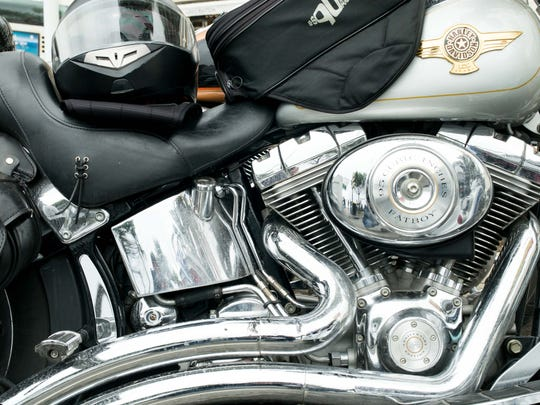 Detail of a Harley Davidson seen in Cannes, France,