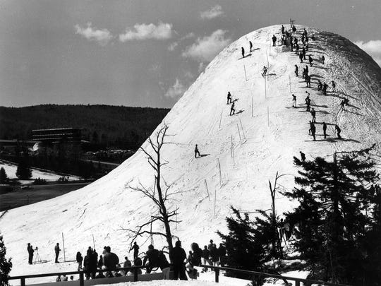 "A mound of ice created by a fountain, Mount Snow's ""Fountain Mountain"" was home to a rope tow, slalom course, and race camps extending well into the summer months."