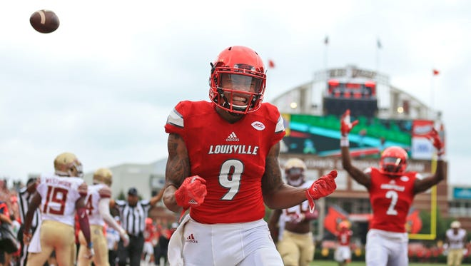 Matt Stone/ The Courier-Journal Jaylen Smith made 27 catches for 599 yards and six touchdowns last season.Louisville's Jaylen Smith celebrates as his run got the Cardinals close to the goal line in the first quarter as Louisville routed the Seminoles 63-20 Saturday afternoon.