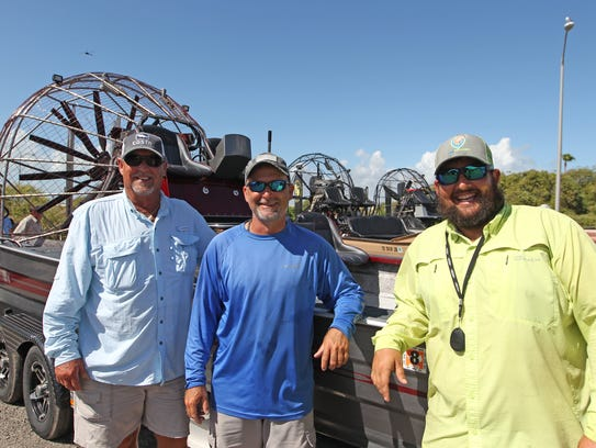 Airboat Capts. David Nesloney Sr., Ryan Wagner and