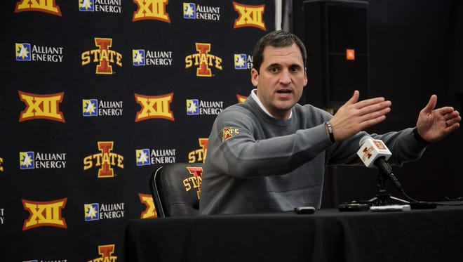 Iowa State men's basketball head coach Steve Prohm talks to reporters during media day in Ames on Tuesday, October 6, 2015.