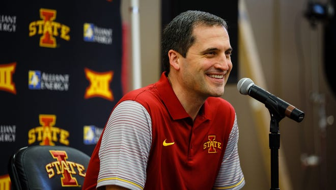 Coach Steve Prohm talks to the media during media day on Wednesday, Oct. 12, 2016, in Ames.