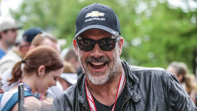 Actor and Indy 500 Pace Car driver Jeffrey Dean Morgan poses for fan photos at Sunday's red-carpet festivities.