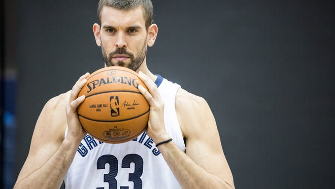 September 25, 2017 - Marc Gasol poses for a picture during the Grizzlies' media day at the FedExForum.