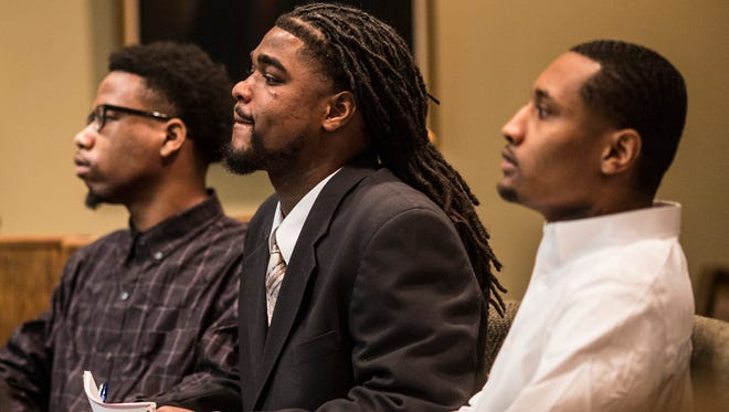 December 12, 2017 - From left, Branden Brookins, 22, Carlos Stokes, 24, and Jordan Clayton, 24, inside of Judge James Lammey's courtroom. The three are on trial this week for the killing of 7-year-old Kirsten Williams. All pleaded not guilty.