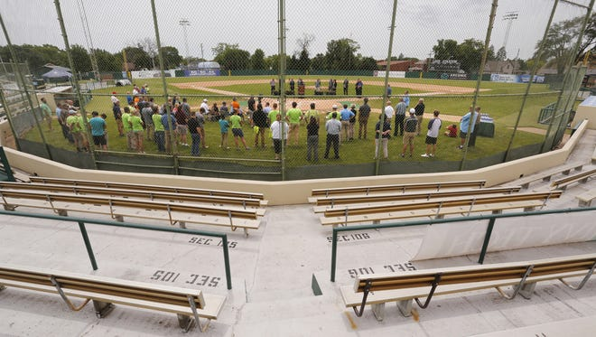 Local officials gather at home plate as plans for the renovation of Loeb Stadium are announced Wednesday, June 28, 2017, at Loeb Stadium. Costs for the renovation are projected to be $16 million. Plans call for the renovation to begin in August 2019 and be completed in the fall of 2020.