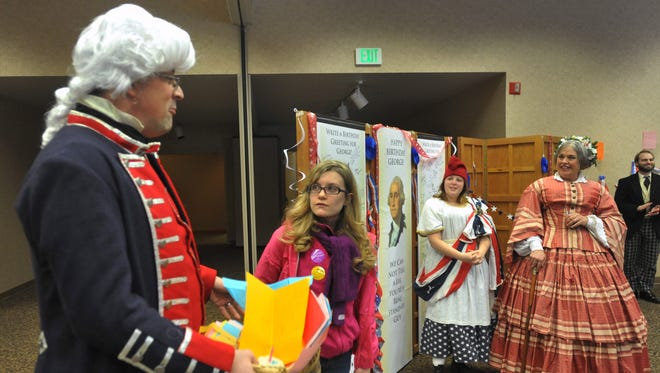 In this 2014 photo, George Washington was portrayed by Mark Wehlage of Noblesville at a surprise party for President Washington at the Presidents Day celebration at Conner Prairie Interactive History Park.