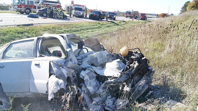 This Saturn was eastbound on Interstate 96 in Clinton County Oct. 18 when it crossed the median and crashed head-on into a vehicle carrying Steve and Sallie Whelan of East Lansing. The lone occupant of the Saturn, a 55-year-old Grass Lake woman, was ejected and died at the scene.