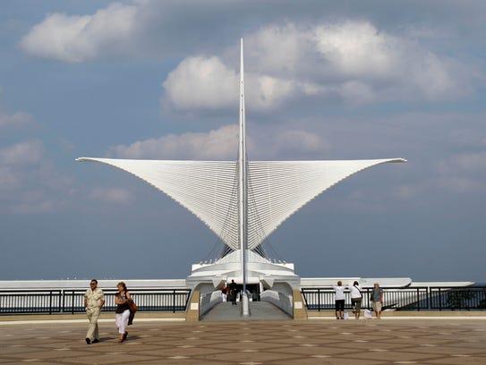 The signature brise soleil at the Milwaukee Art Museum.