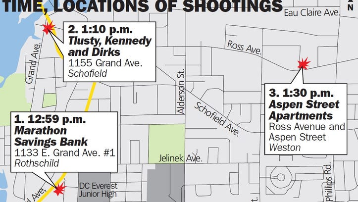 Shootings in three locations Wednesday afternoon shocked the Wausau area.