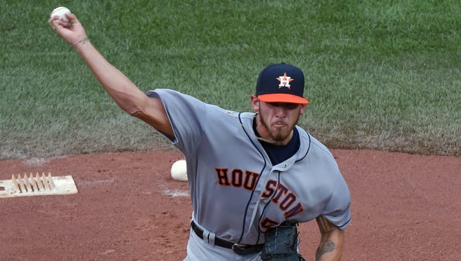 Houston Astros starting pitcher Joe Musgrove (59) delivers a pitch against Toronto Blue Jays at Rogers Centre.