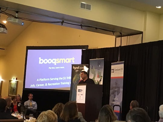 Christopher Beach, founder and CEO of Cape Coral-based Booqsmart, makes his presentation Thursday at VenturePitch SWFL in Punta Gorda.