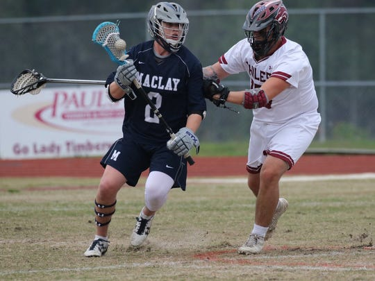 Chiles' lacrosse team beat Maclay 13-10 on Monday, Dec. 26, ending the Marauders' 51-game district win streak that spanned six years. The Timberwoles received six goals from senior Logan Short (3) in the win.