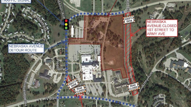 Map road closures due to hospital construction.