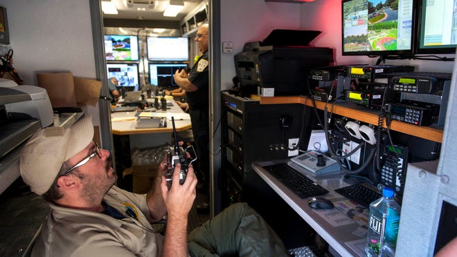 Jason Vilardo, a planner with the Camden County Office of Emergency Management, controls a blimp camera via remote control and watches the camera feed on television monitors inside the county's Emergency Management mobile command unit at the Maccabi Games at Eastern High School in Voorhees on Thursday.