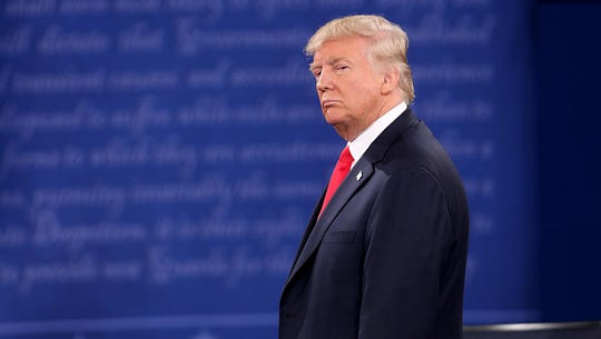 Donald Trump on stage during the second debate between