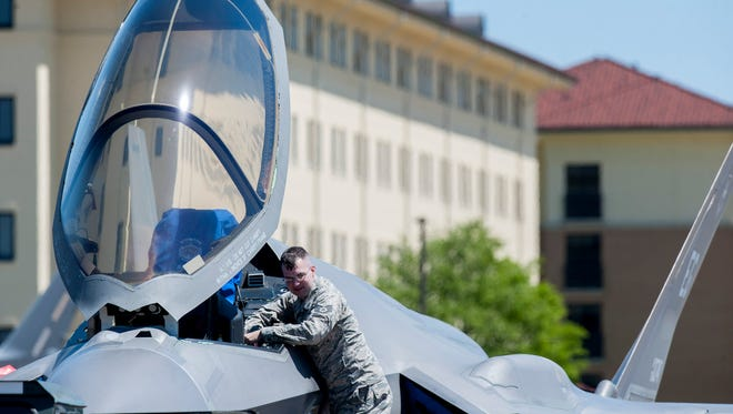 Al F-35 is displayed as students get a sneak peek at the Maxwell Air Show as it is set up at Maxwell Air Force Base in Montgomery, Ala., on Friday April 7, 2017. The free air show is on Saturday and Sunday.