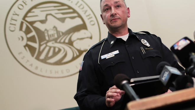 Gary Hagen, assistant chief of the Rexburg Police Department, speaks to the media at the city hall building in Rexburg, Idaho, Tuesday, June 9, 2020. Police say the mother of two missing kids has been found in Hawaii along with her new husband, but there's still no sign of the children in the cross-country investigation that includes several mysterious deaths.
