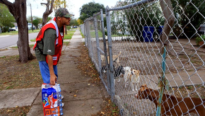 Volunteer Earnest Hysaw from the American Red Cross stands behind a fence as he waits for a resident to collect a case of water Friday, Dec. 16, 2016, in Corpus Christi. City officials confirmed Thursday morning that one chemical contaminated the city's water supply.