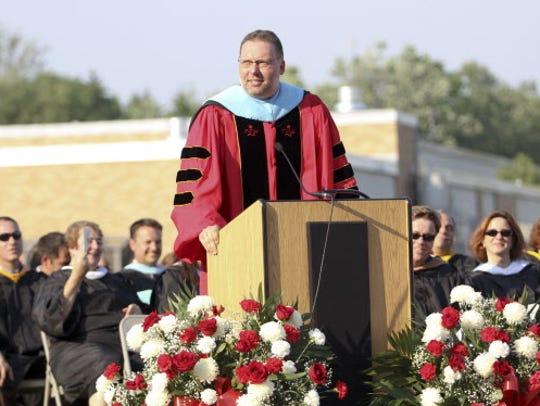 Geoffrey Zoeller addresses the Westwood High School