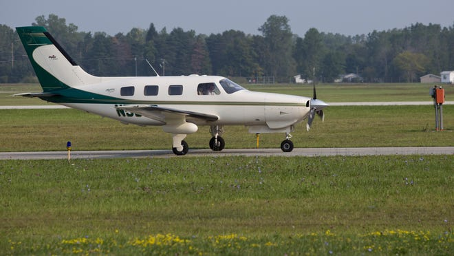 An aircraft arrives from Canada Tuesday, September 1, 2015 at the St. Clair County International Airport in Kimball Township.