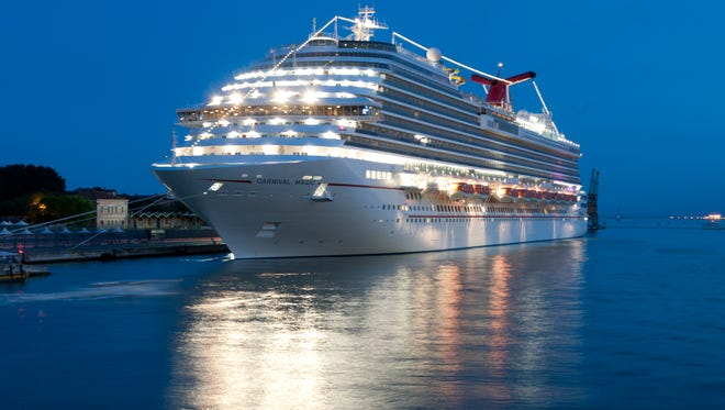 24. Carnival Magic, built by Carnival Cruise Lines in 2011, weighs 130,000 GT and carries 3,690 passengers at double occupancy.