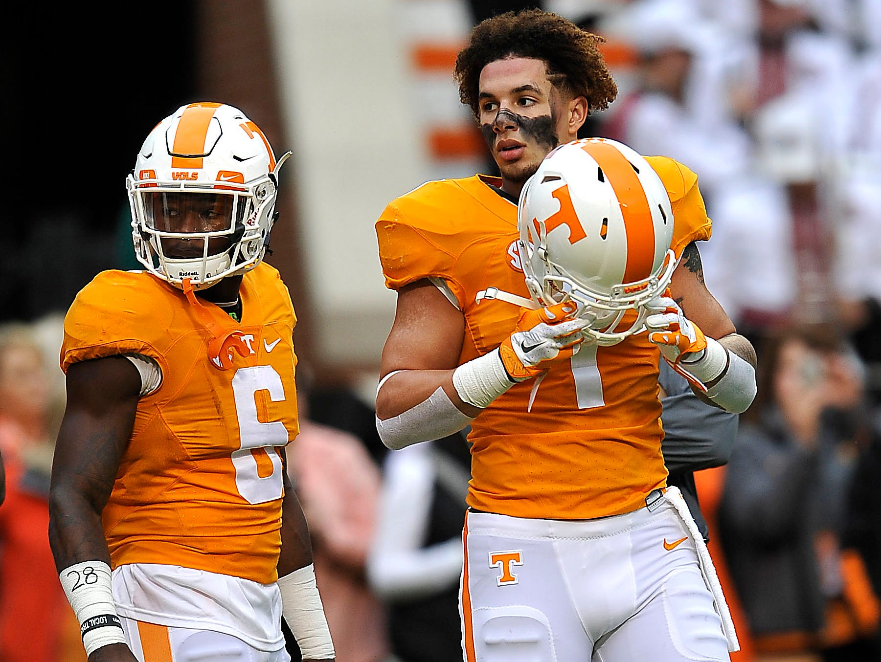 Tennessee running back Jalen Hurd (1) puts on his helmet as he prepares to warm up before the University of Tennessee plays South Carolina at Neyland Stadium on Nov. 7.