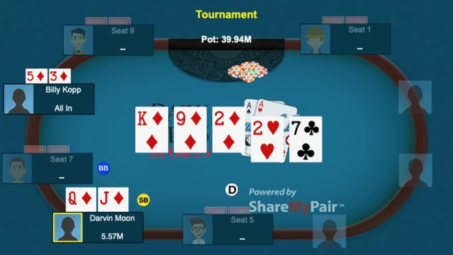 The big hand that helped Darvin Moon to a runner-up finish at the World Series of Poker main event in 2009.