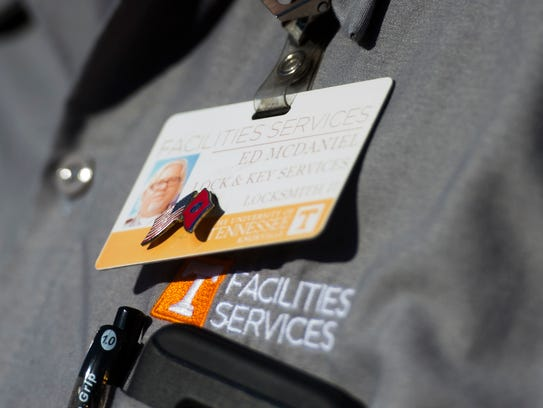 Facilities services employee Ed McDaniel wears a Tennessee