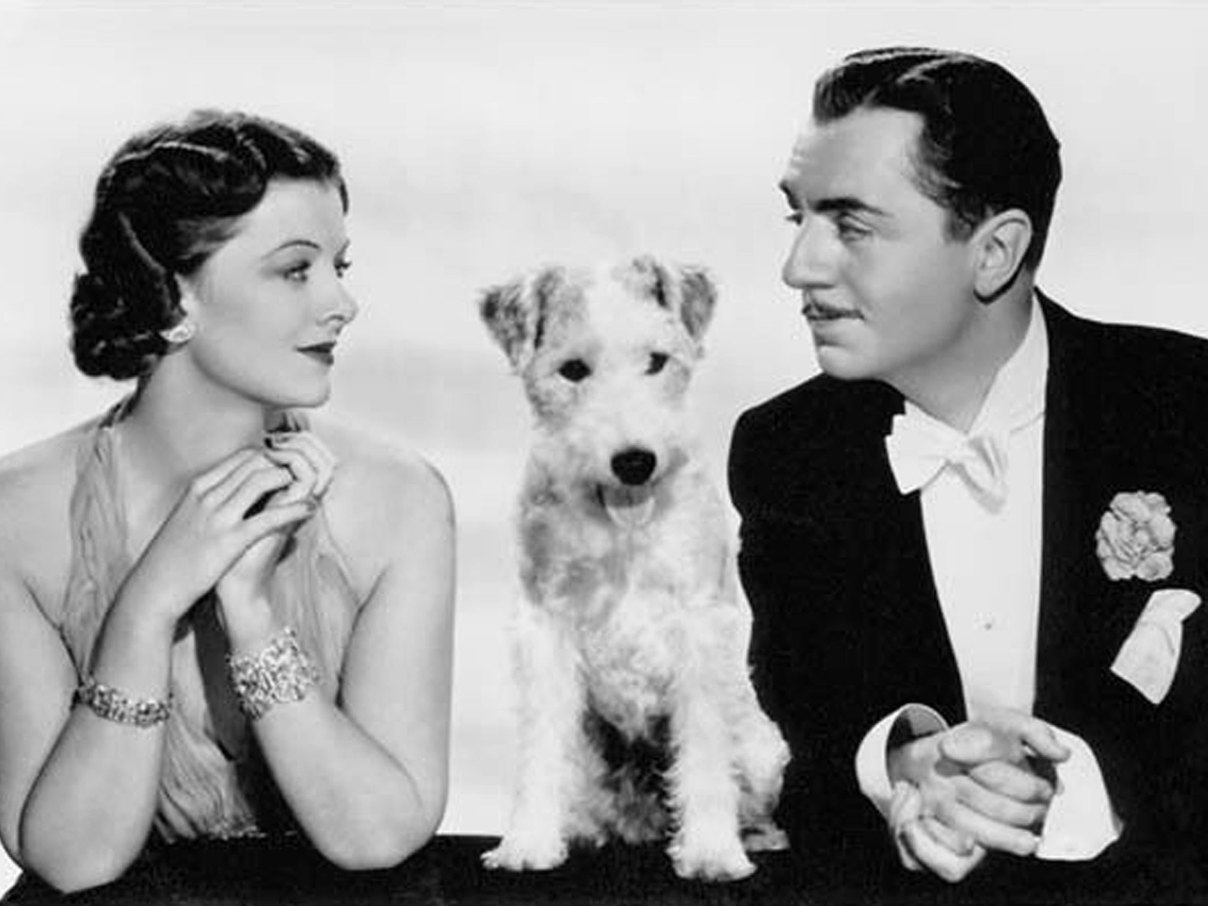 Myrna Loy poses with Asta the dog and William Powell