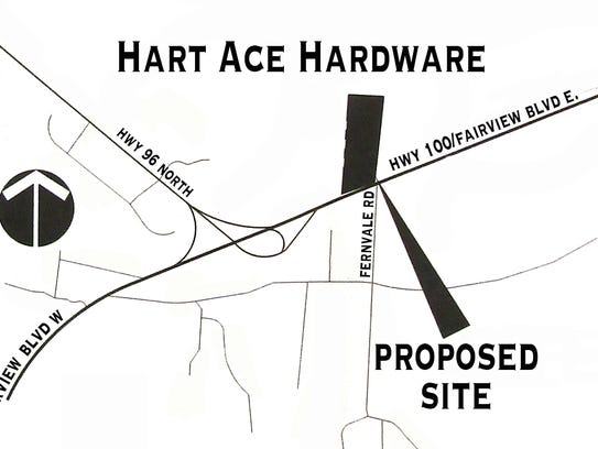 Proposed site map for Hart Ace Hardware in Fairview.