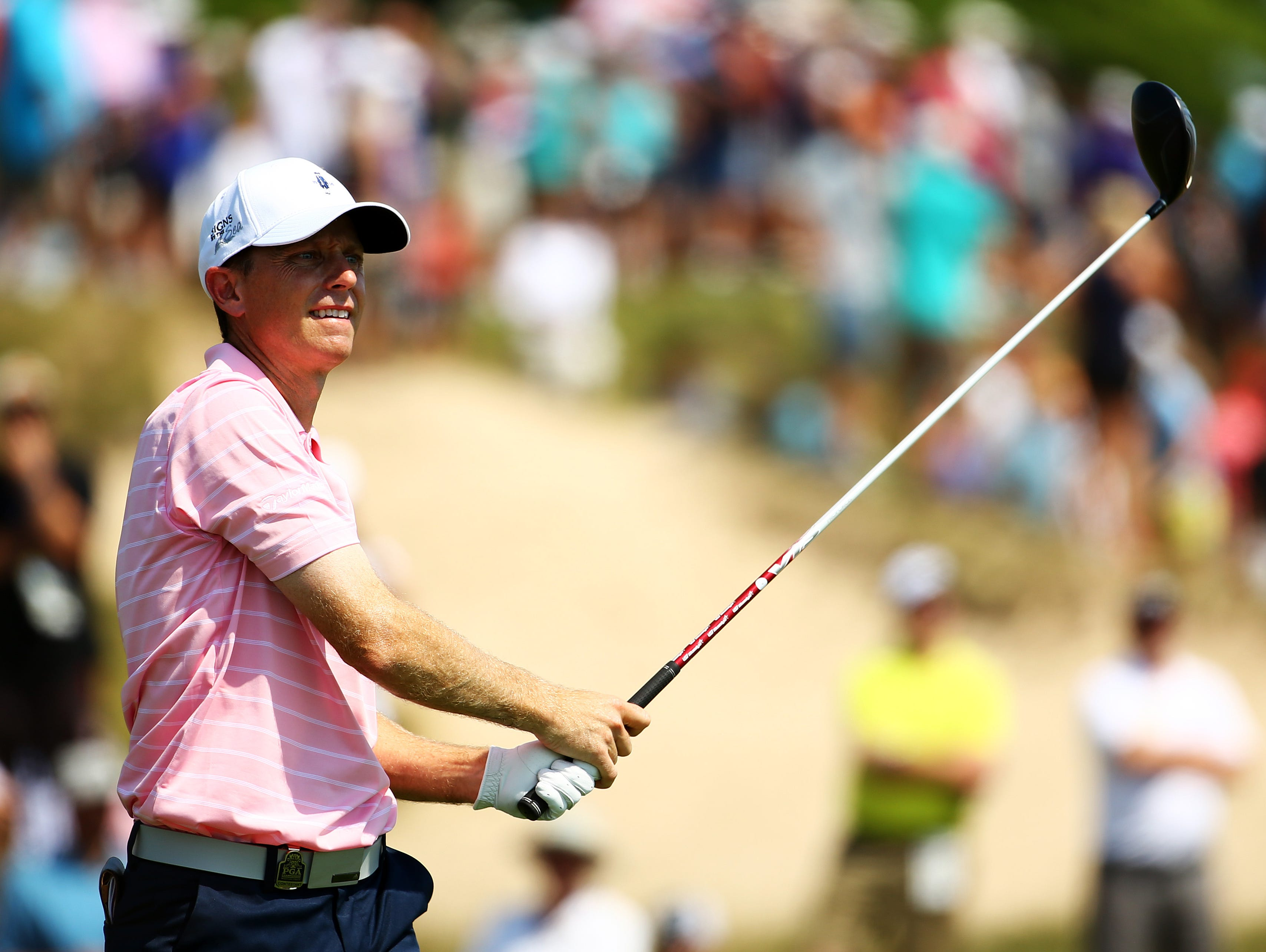 Brian Gaffney, pictured here during the 2015 PGA Championship at Whistling Straits on August 14, 2015 in Sheboygan, Wisconsin, is currently competing in the 98th PGA Championship at Baltusrol Golf Club in Springfield, New Jersey.