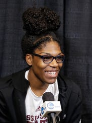 Mississippi State's Teaira McCowan responds to a question