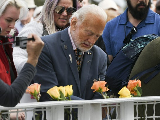 Astronaut Buzz Aldrin (center) along with family and