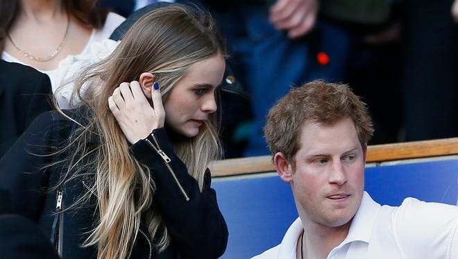 Prince Harry and Cressida Bonas attend a rugby match in London on March 9.