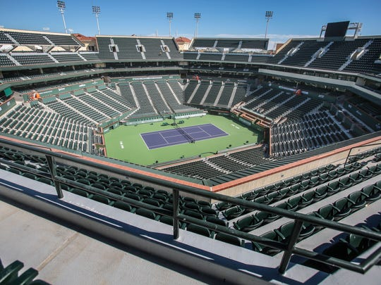 The bleachers on top of Stadium 1 have been replaced with seats at the Indian Wells Tennis Garden on Friday, March 3, 2017 in Indian Wells.