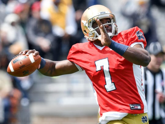 Notre Dame quarterback Brandon Wimbush throws in the