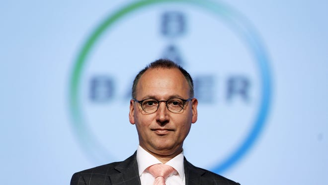 Werner Baumann, designated CEO of German chemicals and pharmaceuticals giant Bayer, poses prior to his company's annual general meeting on April 29, 2016 in Cologne, western Germany.