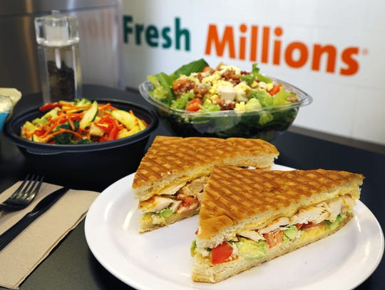 The grilled chicken and avocado panini at Fresh Millions.