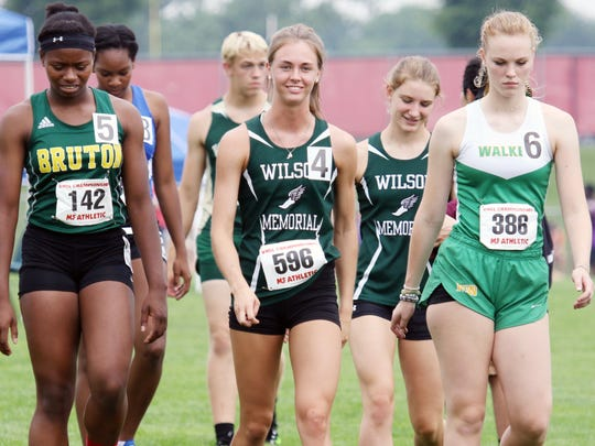 Wilson Memorial's Emilie Miller, center, closed out her high school career with five firsts and one second at the VHSL Class 1 & 2 track and field championships at East Rockingham High School in Elkton on Saturday, June 2, 2018.