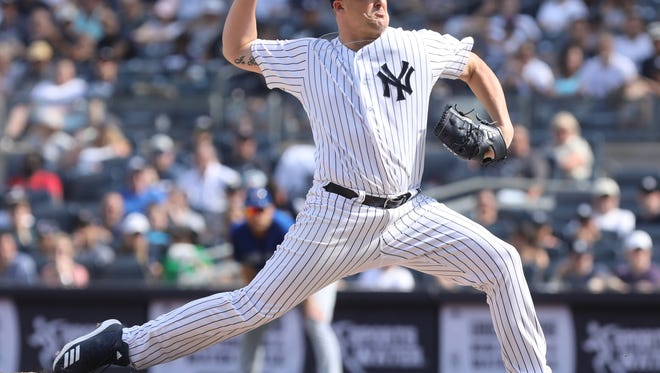 Yankee reliever Jonathan Holder came in to pitch in the sixth inning.