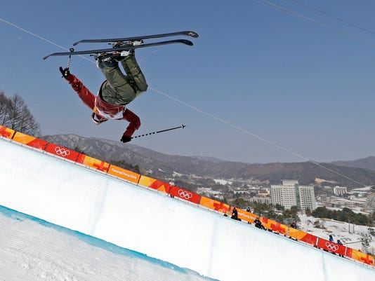 Cassie Sharpe, of Canada, jumps during women's halfpipe final at Phoenix Snow Park at the 2018 Winter Olympics in Pyeongchang, South Korea, Tuesday, Feb. 20, 2018. (AP Photo/Gregory Bull)