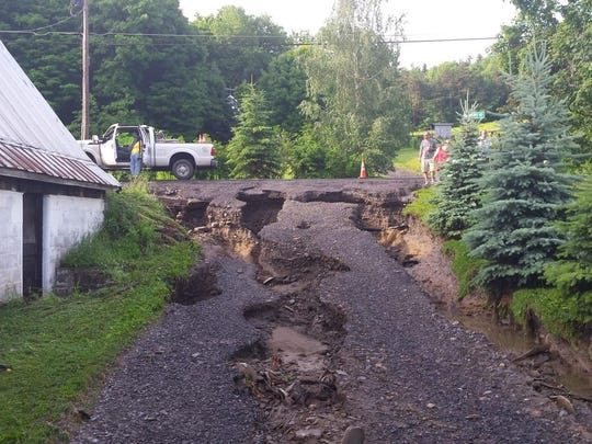 A washed out driveway on Shaffer Road in the Town of Newfield