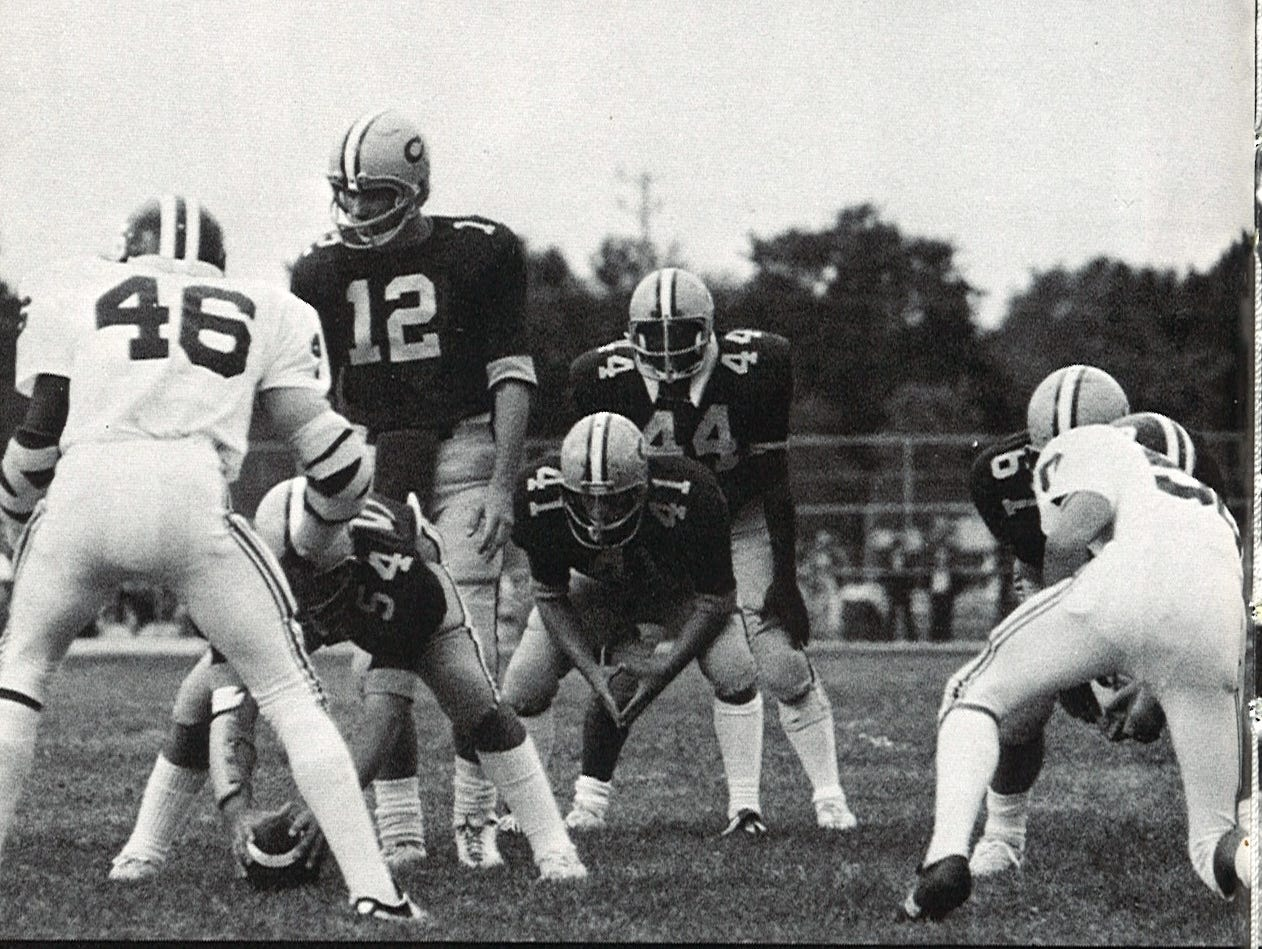 Lonnie Burgess (44) lines up in backfield for Red Bank Catholic during the 1976 season with fullback Mike Madsen and quarterback Mike Mahon also behind center.