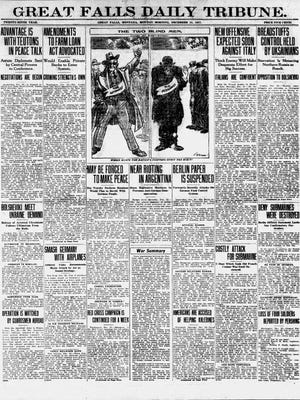 Front page of the Great Falls Daily Tribune from Monday, Dec. 24, 1917.