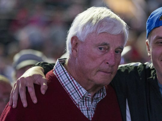 Bobby Knight poses for a photo after endorsing Donald