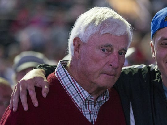 Bobby Knight poses for a photo after endorsing Donald Trump, at the day's Trump rally, Indiana State Fairgrounds, Indianapolis, Wednesday, April 27, 2016.